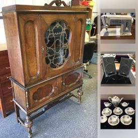 MaxSold Auction: This online auction features artwork, watches, glassware, mirrors, china, stereo equipment, LEGO, sewing machine, vintage furniture, doll and much more.