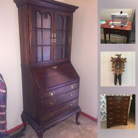 MaxSold Auction: This online auction features sterling, cuckoo clock, china, crystal glassware, furniture, lamps, wicker chest and chair, wall art, chests, holiday decor, Singer sewing table, fireplace accessories, brass vanity set, kitchen items, lenox plates and much more!