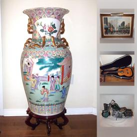 MaxSold Auction: This online auction features Asian urns, vases, decor, Chinese ox blood vase, jade elephant figurine, Asian snuff bottles, Bohemian liquor set, Royal Doulton and other fine china tea cups and saucers and figurines, fine art with COA's and much more!