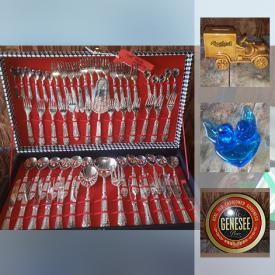 MaxSold Auction: This online auction features Fisherman Jug, Salton juicer, Rawleighs piggy bank, mustache cup, vintage toys, Art glass, Genesee Ale Beer Tray and much more!
