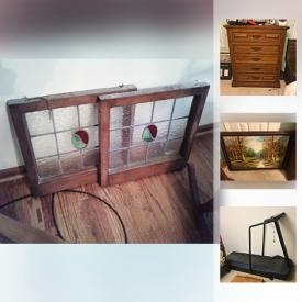 MaxSold Auction: This online auction features ANTIQUE: leaded glass windows; butter churn; spinning wheel and more! FURNITURE: Heywood Wakefield dining table and server/hutch; Link Taylor pieces; bedroom chests and dressers; patio table and chairs. Collectible historical wall decor. Princess House crystal. CRAFT: Supplies, sewing machine, quilt frame. YARD AND GARDEN and much more!