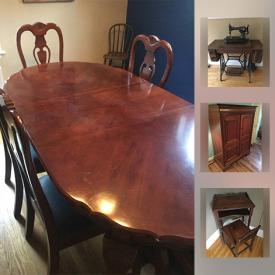 """MaxSold Auction: This online auction features antiques such as antique school desk, antique high chair, and antique upholstered chair, furniture such as pine cabinet, wicker chairs, and solid wood headboard, 20"""" Toshiba TV, vintage tricycle, costume jewelry, patio furniture, home decor, costume jewelry and much more!"""
