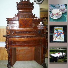 MaxSold Auction: This online auction features Pro Air Hockey Table, Wheelbarrow, China, stamps, Queen University Leather Jacket, Canadian Coin in Box, Paintball Bunker, Old Pipe Organ and much more!