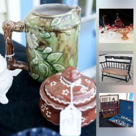 """MaxSold Auction: This online auction features ROSEVILLE POTTERY. GLASS: Red, amber, amberina, milk, clear, Avon, Fenton - vases, stemware, bottles, serving pieces. CHINA: Franciscan """"Desert Rose"""" dishes; """"Golden Wheat"""" by Homer Laughlin; teapots; pitchers and more! FURNITURE: Including an unusual Chinese wedding bed. COLLECTIBLE: Dolls, chalkware, postcards, Dept. 56, oil lamps, records and much more!"""