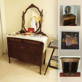 MaxSold Auction: This online auction features lots of vintage furniture, wrought iron and wood outdoor furniture, baby goods, vintage dolls, refrigerator, steamer trunk and much more!