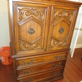 MaxSold Auction: This auction features Crystal, Bevelled Mirror, Lamps, Sewing Machines, Artwork, Fur Coats, Walnut Dining Table and Chairs, Chandelier, Walnut China Cabinet, Walnut Sideboard,  Walnut Armoire and more!