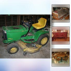 MaxSold Auction: This online auction features a John Deere riding lawn mower, trailer, Goodyear winter tires, metal wheelbarrow, antique Heintzman piano and bench, draperies, wood furniture, wicker chairs, Adirondack chairs, bamboo ladder, wood toboggan, vintage Underwood typewriter, antique wedding dress, art, area rugs and much more!