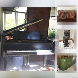 MaxSold Auction: This online auction features vintage and antique items, artworks, furniture, books,decors, collectibles, Mason And Hamlin Grand Piano And Venice Masks, glassware, Mens Suit Jackets and Pants, plants, Granite Slabs and much more.