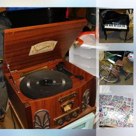 MaxSold Auction: This online auction features ANTIQUE: Hutch, dropfront desk. FURNITURE: Curio, occasional tables and more! VINTAGE: Armchair, tricycle. COLLECTIBLE: Baseball, hockey and basketball cards; copper. KIDS: Elephant by Eames; Supermaze toy; play table; a baby, baby grand piano. ART. SPORTING GOODS. Rain barrels and much more!