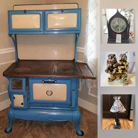 """MaxSold Auction: This online auction features a circa early 1900's blue cast iron Admiral stove. COLLECTIBLE: Christopher Radko ornaments; Cat Meow village; Hummels; Harmony Garden, Harmony Kingdom; Boxes including Limoges; perfume bottles; Steiff bear; Cabbage Patch dolls; Temptations bakeware. GLASS: Woven glass bowl; cranberry, carnival, pink pieces; hand painted green and blue pitcher and glasses sets; fishing floats. UNUSUAL: Kirks Folly wine glasses; pottery/glass stemware. CHINA: Pfaltzgraff """"Winterberry"""" service for 8 plus completer pieces; 12 Maruta turkey dinner plates; """"pinecone"""" service for 8 plus serving pieces. ART: David Lee prints; original signed and numbered pieces and much more!"""