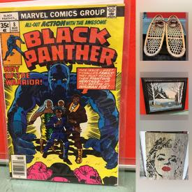 MaxSold Auction: This online auction features Wooden bowls, one with a lid; J.Orr original art; a brass blanket/towel rack; comics and much more!