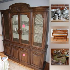 MaxSold Auction: This online auction features glassware, rugs, china, records, wall art, piano, books, bicycles, tools, boat motor, display cases, lamps, TV, lawn mower and much more.