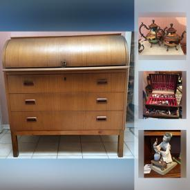 MaxSold Auction: This online auction features artworks, furniture, glassware, electronics, flatware, decors, figurines, appliances, bar items and much more.