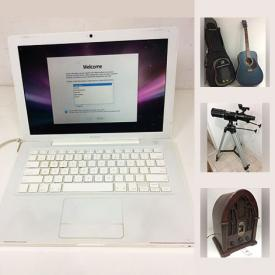 MaxSold Auction: This online auction features MacBook 1.1, Apple iPad 2 16GB, IKEA Stig Bar Height Chairs, Art Lutherie Cedar Guitar, General Electric FM AM Radio, Decorative Wood Framed Mirror, African Batik Dyed Fabric, Sheets Of 1926 Stock Certificates, Farming Vivosmart HR Watches and much more!