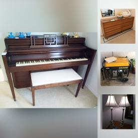 MaxSold Auction: This online auction features a Knabe piano, Wedgwood, prints, furniture, books, brass lamps, Henredon tables, side tables, vintage coffee table books, antiqued lamp shades, clear glass dishes, Fostoria glass, fine china, sterling and silver place serving pieces, cake stands, window treatments, mirrors, coffee pots, kitchen items, microwave, toaster, small kitchen appliances, cast iron, cookie jars, dress hats, vintage clothing, silverplate, wooden room divider, cherub decor, generator, wall fountain, plants, cast iron patio items, vacuum, electronics, art and much more!