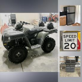 MaxSold Auction: This online auction features street signs, Desk, Tarter Bushhog rotary cutter, Danuser Drill, Kenmore Grill, Polaris ATV, Surround Sound Speakers, 500 Gallon Fuel Tank, Whirlpool Fridge, and much more!