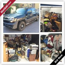 MaxSold Auction: This auction features a 2005 Chevy Avalanche Pick Up Truck, 8'x10' and 10'x10' storage lockers includes fridge and stove, TV, computer, home stereo related electronics. Vintage Disney, Cabbage Patch, Holly Hobby, Spiderman toys, collectibles, Camera light, home alarm system, women's purses, wood tables, a wood desk. Office chairs, Camera tri-pod. Vacuum cleaner, car audio, lawn mower. Microwave oven, vintage playboy magazines, wooden chest full of toys. Camping gear, work boots. All items are untested with many items waiting to be discovered!