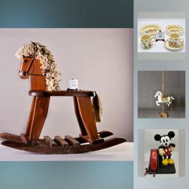 MaxSold Auction: This auction features Beswick St. Bernard Figurine, Pyrex mixing bowls, Royal Doulton Bunnykin dishes, Decorative Carousel Horse, Vintage Mickey Mouse Phone, Royal Doulton Figurine, Tupperware, Carnival glass punch bowl, Tonka Dump Truck, Vintage Reproduction decorative gramophone, Royal Crown Derby, Beer Steins, Wooden Rocking Horse and much more!