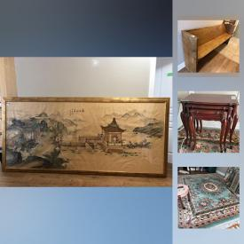 MaxSold Auction: This online auction features Church Pew, Framed Art , Dining Suite, Queen Bed, Kitchenware, Tea Cups, Cookware, Lamps, Rugs, HP Laptop , Art Shoppe Cabinets , Nesting tables and much more!