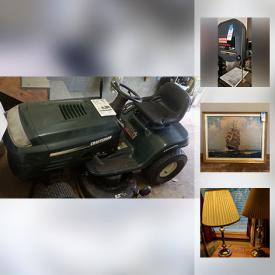 MaxSold Auction: This online auction features SHOP TOOLS: Craftsman band saw, table saw, router, dust collector; Ryobi disk sander; Continental drill press; Rockwell bench grinder; Black and Decker miter and circular saws AND MUCH MORE! FURNITURE: Bedroom suite with two twin captains beds with storage, two chest of drawers, night tables; sofa; bookcases; office furnishings. ELECTRONICS: TVs, printers, scanners, DVD/Cd players; Singer sewing machine. YARD AND GARDEN: Craftsman mower and edger. ART: Many framed nautical themed art pieces, including a shadowbox knot display. Chalkboard on wheels. COLLECTIBLE: LP's, 78 records; Pyrex nesting set of mixing bowls and much more!