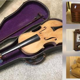 MaxSold Auction: This online auction features Violin, Office Desk, Board Games, JVC Compact VHS Camcorder, Vintage Secretary Style Desk, JFK Life Book, Stamp Collector Items, Lionel Trains Pennsylvania Flyer O-27 Ready To Run Train Set, Pendulum Wall Clock and much more!