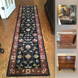 MaxSold Auction: This online auction features Ethan Allen Wing back Chair, Rug, Art, Thomasville cabinet, Coffee Table, Wedgewood China, Sterling, Keurig, Artwork, Antique Chest Of Drawers and much more!
