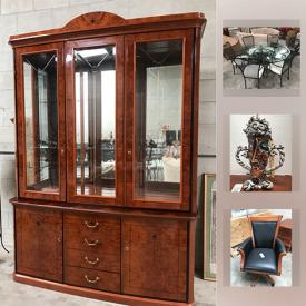MaxSold Auction: This online auction features Desk Wooden, Wood Filing Cabinet, Adjustable Swivel Office Desk Chair, Folding Golf Bag Boy, Metal Flower Arrangement, Blue Heron Statue, Art Mirror, China Cabinet, Mcgovney Camarot Signed Tea Kettle, Signed Crystal Catch Fish, Wizard Of Oz Ornament and much more!