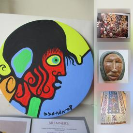 """MaxSold Auction: This online auction features ART: Several signed, limited edition prints by artist Tom Thompson with """"Group of Seven"""" seal. Original painting's by Norval Morrisseau and his son David with COA's. Antique oils and watercolours. Carved stone/rock figures, some signed by know artists and stone-cut prints. RUGS: Handwoven room size area rugs to runners. ANTIQUE: Marbles; Jade carved figurine; 16th century flint purse; Chin-ming dynasty coins. ANTIQUITIES: Roman coins. COLLECTIBLE: Pez; Legos. CHINA: Sadler ginger jars; Royal Doulton figurine and much more!"""