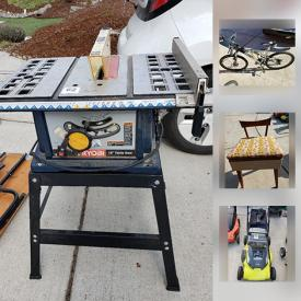 MaxSold Auction: This online auction features Mongoose bike, unicycle, Hot Wheels Cars, antique sewing chair, Wooden stools, Cadet Heater, Electric Mulching Mower, Fishing Poles, Jazz Wind board, 500lb Hand Truck, Bic Sport Wind Board and much more!