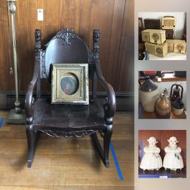 MaxSold Auction: This auction features Vintage Rocker, Vintage and Mid Century Clock Radios, player piano music scrolls, antique meat grinder, Antique Stoneware Whiskey Jugs, Oil Lamp, Lantern, antique cameras, Antique brass music stand, and much more!