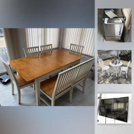 MaxSold Auction: This online auction features a dining table and chairs, end tables, fireplace guard, shelving unit, LG flat panel TV, couch, clock, wall ladder, wooden bed frame, fan, wooden chairs, stand up vacuum cleaner, cleaning supplies, ice machine, kitchen tools, pots and pans, storage bags, toaster, cookie jar, patio sets, lounge bench, step ladder, water skis, beach chairs, pressure washer, electric leaf blower and much more!