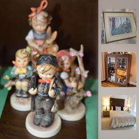 MaxSold Auction: This online auction includes collectibles such as Royal Albert china, Goebel figurines, silver plated items, and crystal,furniture such as Flair sofa, vintage wooden buffet, dresser with mirror, and queen-size bed with bedding, art such as signed and framed prints, original watercolour, and framed oil painting, hand tools, gardening tools, wool area rugs, Craftsman lawn mower, LPs, vintage record player, lamps, glassware, kitchenware, books and much more!