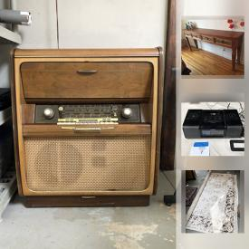 MaxSold Auction: This online auction features Vintage 50's hi-boy radio, Indonesian Side Board, iHome Radio, Turkish Rug, Antique Singer Sewing machine, Rice Cooker, LPs, Wood Indonesian side table/cabinet and much more!