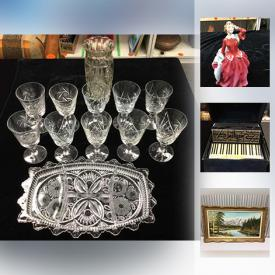 MaxSold Auction: This online auction features Crystal, Vintage Paragon Bone China Dinnerware, Royal Doulton Figurine, Vintage Sterling Silver Carving Set, Asian Scroll Hanging, Royal Worcester Evesham Dinnerware, Swarovski Crystal Figurine, Spanish Chandelier, Vintage Birks Ladies Watch, Gold Ring and much more!