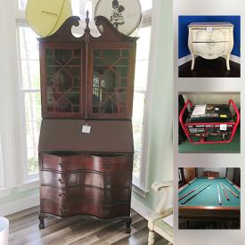 MaxSold Auction: This online auction features mirrors, wall art, shelving, vintage wooden furniture, candle holders, glassware, lamps, books, luggage, pool table, lawn tools, generators and much more!