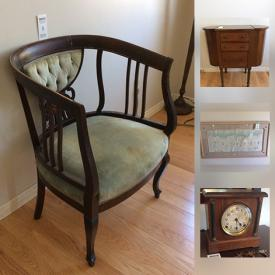 """MaxSold Auction: This auction features Antique Upholstered Chair, Cabinet, """"Pueblo"""" By Wess -Framed Cast Paper Sculpture, Wagon, Golf Clubs, Antique Clock, Sanyo 18.5"""" LCD TV, Beau Mark Convection Oven, Midwinter Stonehenge Dish Set, Old Country Roses Royal Albert China and much more!"""