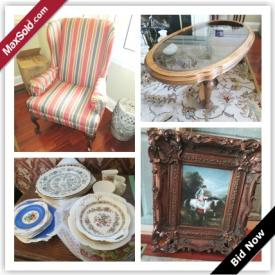 MaxSold Auction: This auction features Pine Desk, Wing Back Chair, Coffee Table, Chandelier, Barrymore Sofa, Antique China Cabinet, Ethan Allen Console Table, Hand Painted Lamps, Royal Dalton, China, Antique Original Oil, Serving Cart, Antique Lamp, Love Seat, Highboy Chest, Power Washer, Patio Set, Belgian Tapestry and more!
