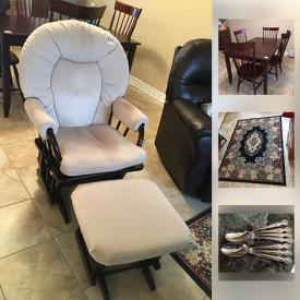 MaxSold Auction: This online auction includes furniture such as electric recliner, Canadel table with chairs, and glider with ottoman, art such as original watercolour and original oil painting, area rug, silver plate items, linens, home health aids and much more!