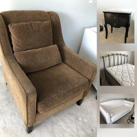 """MaxSold Auction: This online auction features FURNITURE: Hall coat rack; chair and ottoman, couch, bedroom pieces. ELECTRONIC: 26"""" Insignia TV with DVD. JEWELRY: 10K, 14K gold, sterling, pearls and costume and much more!"""