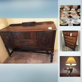 MaxSold Auction: This online auction features Antique: Dolls including a Kewpie; ice skates. VINTAGE: 1930's buffet; Art Deco vanity and chest of drawers; lamps; 50's/60's sectional sofa; Harmony House 1957 bedroom suite; children's books, sheet music; card tables; suitcase; toys; ladies evening suit and party dresses/gloves and more! FURNITURE: Dining room table and six chairs. CHINA; Tea cup sets; Limoges and more plates; Pfaltzgraff everyday dish set. GLASS: Depression cake plate; punch bowl and cups. MUSICAL INSTRUMENTS: 1940's Lexington, Boston upright piano and bench; bongos. YARD AND GARDEN: Art glass and metal fish decor; yard tools and machines; Weber grill; ladders. COLLECTIBLE: China florals; ephemera - photo's and books; hair comb; TEXTILES: Lace coverlets, table linens, doilies, Irish linens and much more!