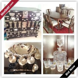 MaxSold Auction: This auction features Traditional Dining Room Table, Dining Room Sideboard And Hutch, Marble Decor, Black Mother Of Pearl Inlay Vase, Black Leather Sofa, Black Lacquer Mother Of Pearl Inlay Furniture, Crystal, Silver Plate, China, Amethyst, Artwork, Fur Coats, Selection Hand Bags, Vintage Coleman Cooler, Ladies Golf Set and more!