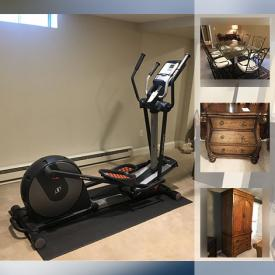 MaxSold Auction: This online auction features a NordicTrack elliptical, generator, bespoke furniture, oriental rug, bakers rack, decorative items, beds, wicker furniture, dishware, kitchen items, filing cabinet, shop vac, lawn decor, bird bath, trimmer and much more!
