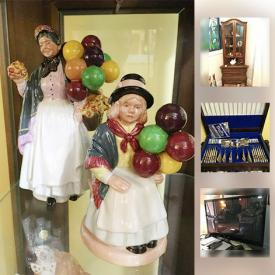 MaxSold Auction: This online auction features Curio Cabinet, Silverware Set, Royal Doulton Figurines, Limoges, Tv, coffee table by Martha Living, Teacups, Buffet, Ceramics, Gibbard dresser, Kitchen Appliances, Coffee Maker, Mixer, Dresser with Mirror, Hummel Figures and much more!