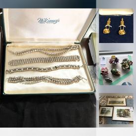 MaxSold Auction: This online auction features JEWELRY: Gold Jewelry, sterling, costume including rhinestone pieces, Cameos. COLLECTIBLE: Military pins, blazer buttons; Hummel/china florals; Wedgwood blue Jasper ware; Hudsons Bay Blanket, quilts; Swarovski mini animals; coins/paper money. ART: Many originals, prints, framed needlepoint. VINTAGE: Cameras - Kodak Reflex. GLASS: Carnival bowl, silver overlay. CHINA: Antique and vintage pieces and much more!