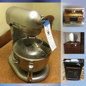 MaxSold Auction: This online auction features Pine Roll top Desk, books, Le Creuset pot, Kitchen aid 6 Quart Mixer, Art Deco Style Bureau, Solar Panel Roof Rake, DR Power wagon, Air Compressor Electric, Amana Deep Freeze, Wood And Metal Bench, Edenpure Gen4 Heater With Remote and much more!