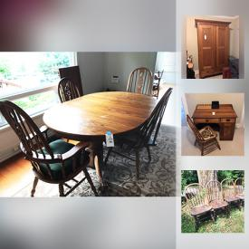 MaxSold Auction: This online auction features VINTAGE FURNITURE: Oak wardrobe, Oak desk and chair, 2-piece headboard, full length mirror, several chairs; stools. COLLECTIBLE: POTTERY! GLASS: Blue-rimed Mexican stemware, glasses and pitchers. ART: Originals. Electronics. Yard and Garden and much more!