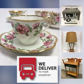 MaxSold Auction: This online auction features collectible china such as pieces by Salisbury, Royal Albert, Queen Anne, Aynsley, Frankfurt, Gladstone, Rosina, Paragon, Pink Whisper Stoneware, and Hammersley Co., furniture such as wash stand, console table, marble top dining buffet table, end table, night stands, IKEA dresser, wooden media wall unit, IKEA office desk, vintage trunks, office chair, leather ottoman, sofa, vintage school desk, stuffed living room chairs, home decor such as framed wall art, table lamps, silver decorative plates, wall clocks, religious-themed painted wood panel, throw pillows, vintage dolls, vintage milk glass table lamp, vinyl records such as Billy Joel, Jane Fonda, Perth County Conspiracy, Frank Sinatra, The Beatles, Mary Poppins, and much more!  Domestic delivery is available through arrangement with More Than A Mover Inc. The customers still have to attend the pickup to inspect the items and arrange the delivery with the moving company themselves. If you need more information about delivery, please contact info@morethanamover.com.