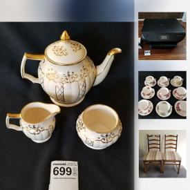 MaxSold Auction: This online auction features Bone China teacups, vintage Birks carving set, costume jewelry, vintage wine barrel bar, and much more!