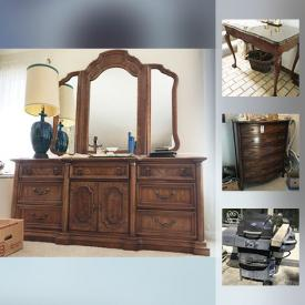 """MaxSold Auction: This online auction features Furniture - MCM END TABLES AND FLOOR LAMP; VINTAGE TABLE WITH TWO LEAVES; Bedroom - Stanley suite and Broyhill pieces. Brass decor, lamps. ANTIQUE: Dressing table. COLLECTIBLE: Portmeirion """"Botanic Garden"""" vase; ART GLASS VASE; ship clock; LP's; Bossons; comics. VINTAGE: WASHBOARD. APPLIANCES: Woods upright freezer. ELECTRONICS: Stereo components, Sony Trinitron TV. MInk Jacket. TOOLS. YARD AND GARDEN: Power and hand tools. OUTDOORS: Grillmate BBQ; Aluminum extension ladder. HANDMADE: Framed needlepoint and much more!"""