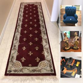 MaxSold Auction: This auction features Plush Runner, Oval drop leaf table, Pier 1 Arm Chair, accented mirror, American Atelier dish set, jewelry, Coin proof set, Mexican nativity set, Refurbished Trunk, Pet Beds and much more!